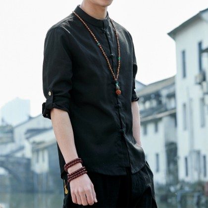 Men  Youth Trend Chinese Style Retro Slim Fit   Cotton Linen