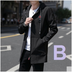 Men Korean Fashion Youth Trend  Black Thin Section Casual Long Jacket