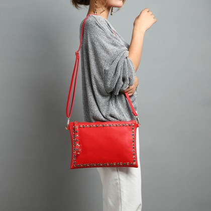 Women New Fashion  Large Ladies Clutch Rivet Envelope Handbag