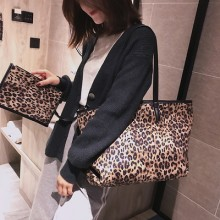 Women New Fashion Large Street Style Velvet Leopard Print Tote Bag
