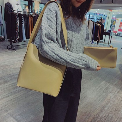 Women New Fashion Paragraph Casual Wild Style Shoulder Bucket Bag