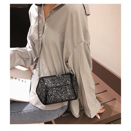 Women Korean Fashion Sequin Messenger Shoulder Chic Chain Bag
