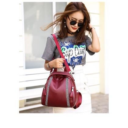 Women Korean Fashion Multipurpose Soft Leather Small Wild Fashion Backpack