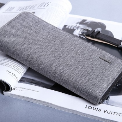 Men Korean Fashion Long Zipper Small Canvas Wallet