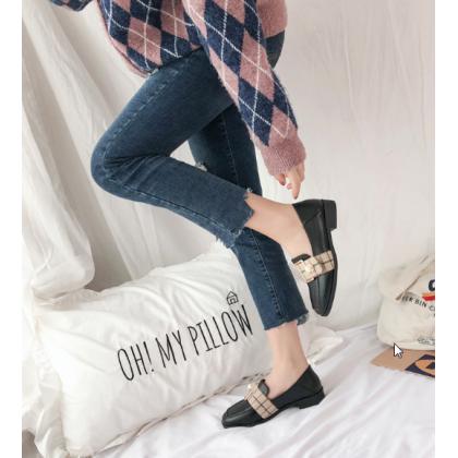 Women Korean Fashion  Dual Use Leather Wild Style Peas Shoes
