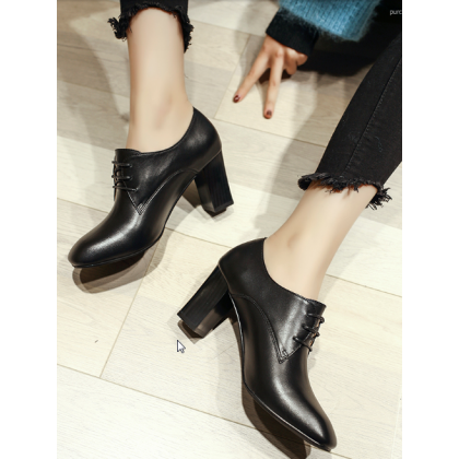 Women Korean Fashion Thick High Heels Wild Square Head Lace up Shoes
