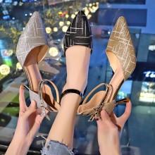 Women Korean Fashion Sexy High Heels Wild Sequin  Buckle Shoes