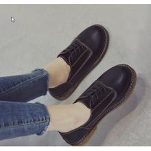 Women Korean Fashion  British Retro Style Flat Leather Shoes