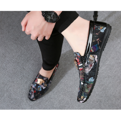 Men Korean Fashion  Wild Style Casual Color Matching Print Peas Shoes