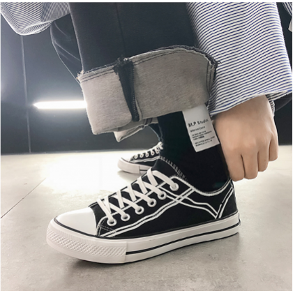 Men Korean Fashion  Street Style Youth Breathable Canvas Shoes