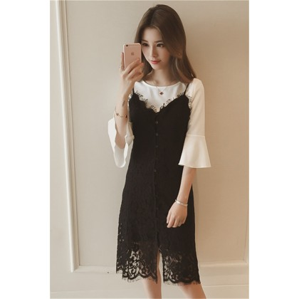 Women Fashion  Summer New Lace Strap Fairy Two Piece Set Dress
