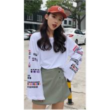 Women Japanese Harajuku Style Chic Loose Printed Long Sleeved T Shirt