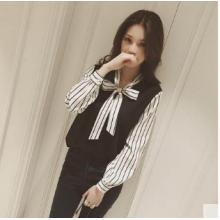 Women Han Fan Wild Style Bow Long Sleeve Chiffon Casual Shirt