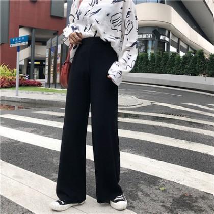 Women Korean Trend Knit Wide Leg Loose Straight Casual Pants
