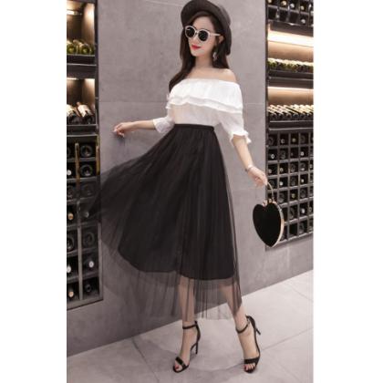 Women Korean Trend Two Layer High Waist Pleated Long Mesh Skirt