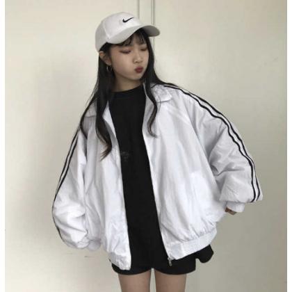 Women Korean Fashion Harajuku Wild Style Loose Baseball Jacket