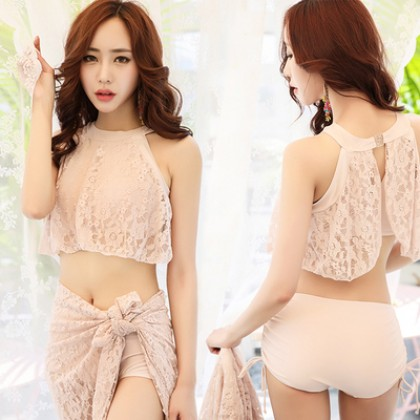 Women Korean Fashion 3 Piece Set Lace Veil Sexy Bikini Swimwear