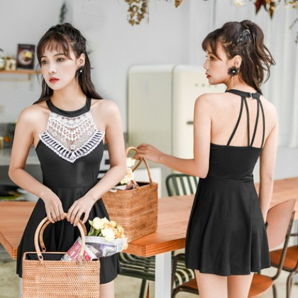 Women Korean Fashion One Piece Skirt Style Hanging Neck Swimwear