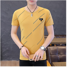 Men Fashion Ice Silk Summer Short Sleeve Diagonal Print T Shirt