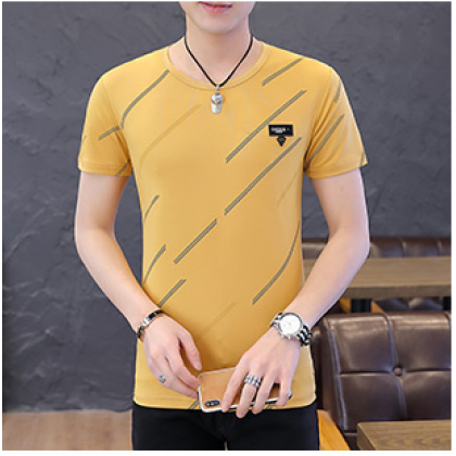 Men Fashion Ice Silk Summer Short Sleeve Diagonal Print T Shirt