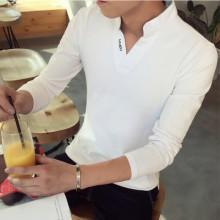 Men Korean Fashion Harajuku Style  Long Sleeve V neck Shirt