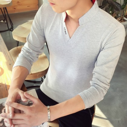 Men Korean Fashion Harajuku Style  Long Sleeve V neck Shirt