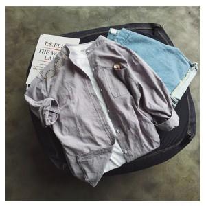 Men Fashion Japanese Retro Collar Seven- Sleeve Cotton Shirt