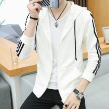 Men Korean Trend  Youth Style  Thin Slim Fit Geometric Print Sleeve Hooded Jacket