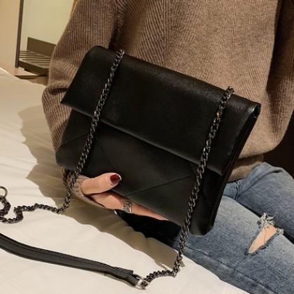 Women Korean Fashion Wild Style Chic Chain Small Square Shoulder Bag