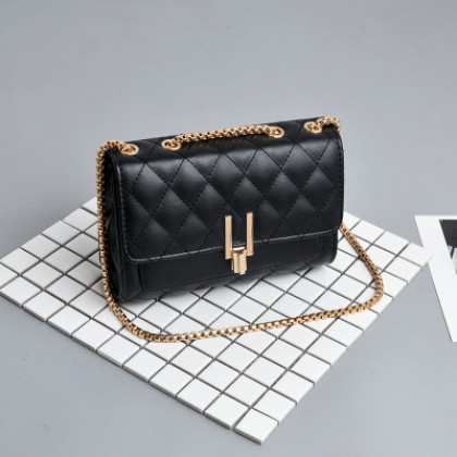 Women Korean Wild Style Rhombic Chain Small Soft Surface Shoulder Bag