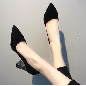 Women Korean Trend  Wild Style Sexy Glitter Thick Heel Black Shoes
