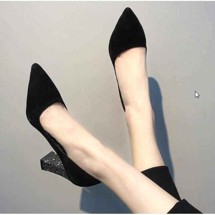 d239d541e79 Women Korean Trend Wild Style Sexy Glitter Thick Heel Black Shoes. 10% off