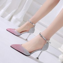 Women Korean Trend  Elegant Sequins Pointed High Heels Wedding Stilleto