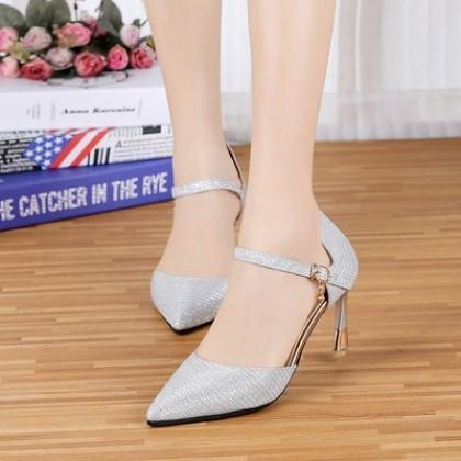 Women Korean Trend  Elegant Sequins Pointed High Heels Wedding Stilleto