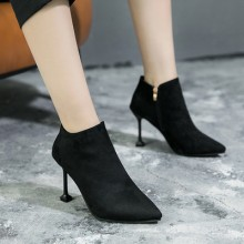 Women Korean Fashion Wild Style Suede High Heels Winter Boots