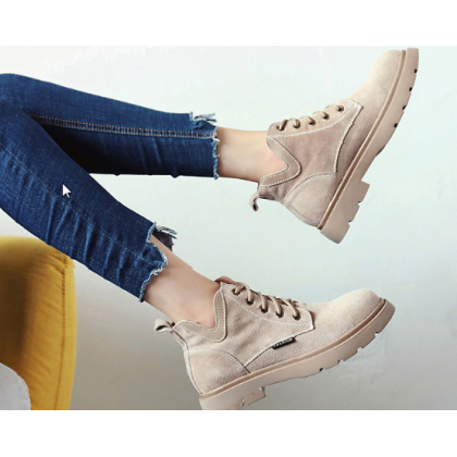 Women Korean Fashion Wild Style Suede Martin Boots