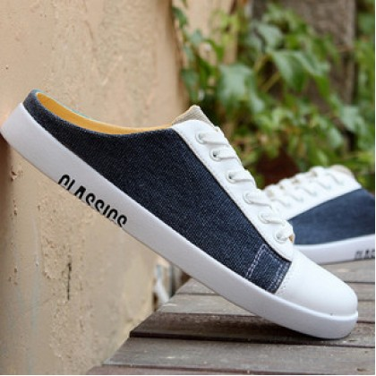 Men Korean Street Fashion Wild Style Half Slippers Lazy Canvas Sandals