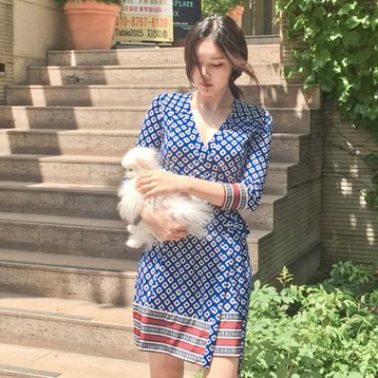 Women Korean Fashion New Summer Retro Print V Neck Wrap Skirt Dress