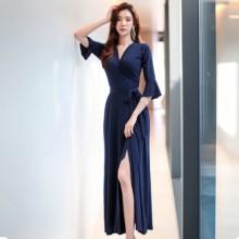 Women Korean Fashion Wrap Split Skirt V neck Slim Long Dress