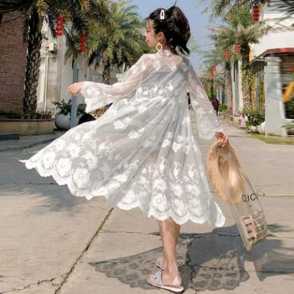 Women Korean Fashion Embroidery Lace Cardigan Shawl Thin Coat