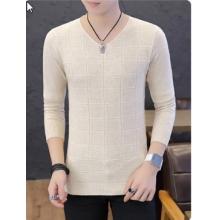 Men Korean Trend Summer  Long Sleeved V Neck Soft  Shirt