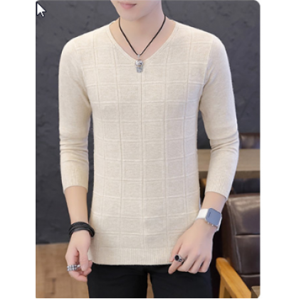 Men Korean Trend Summer  Long Sleeved V Neck Soft  Shirt