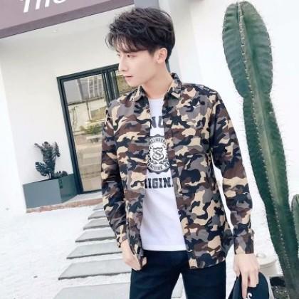 Men Korean Fashion  Camouflage Long Sleeved  Casual Shirt