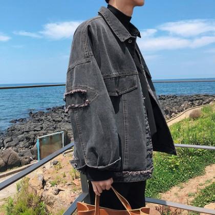 Men Korean Fashion  Wild Style Large Tooling Loose Denim Coat