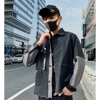 Men Korean Fashion  Wild Style Slim Denim Casual Jacket