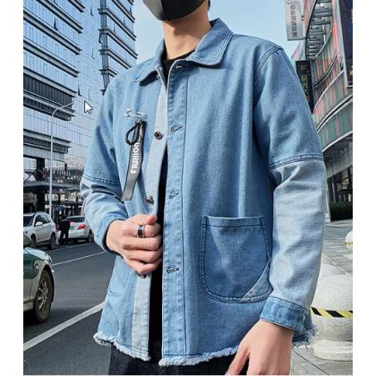 Men Korean Fashion  Wild Style Slim Denim Casual Jacket