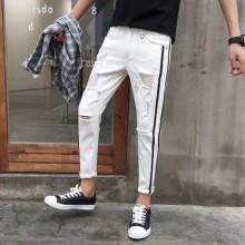 Men New Fashion Summer Wild Style Ripped Thin Denim Pants