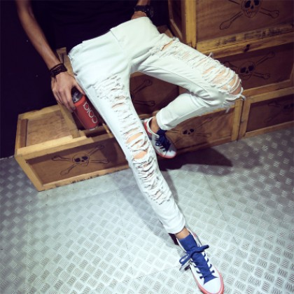 Men New Fashion Summer Wild Style Ripped Denim Slim Fit Pants