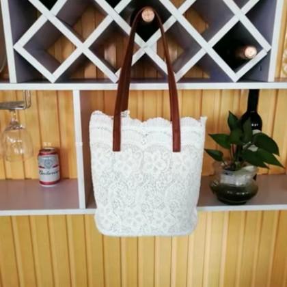 Women Korean Trend Summer Lace Large Bucket Style Shoulder Bag