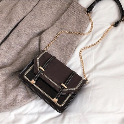 Women Korean Fashion Casual Leather Wild Frosted Chain Small Shoulder Bag